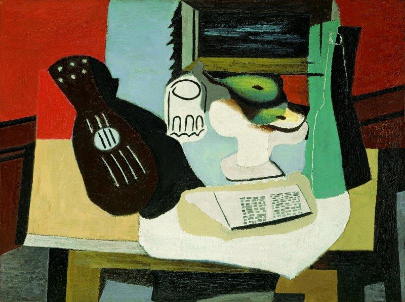 Pablo Picasso, Chitarra, bicchiere e fruttiera, 1924